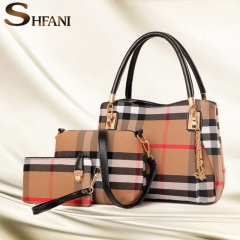 3PCS Women Bag High Quality Ladies Handbags Fashion Pattern Shoulder Bag Brand Girl Wallet black one size