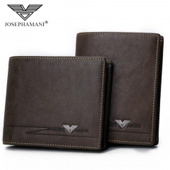 Brand Genuine Leather Men Wallet Multifunction Bag Cowhide Business Card Pack coffee 12cm*9.5cm*2cm