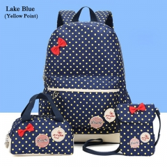 3PCS Point Printing Canvas School Backpack Cute Student Bag For Girl +Girl Wallet lake blue one size