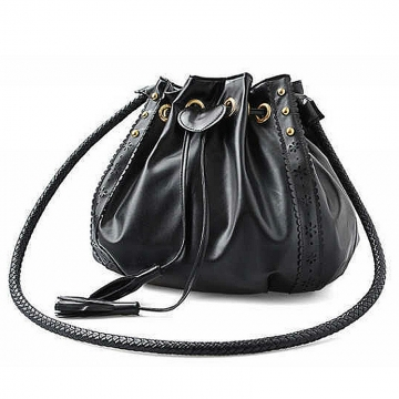 Fashion Tassel Women Shoulder Bags Willow Lace Messenger Bag  Leather Handbag black 28cm * 9cm*21cm