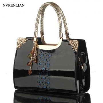 Fashion Leather Women Handbag Hollow Lady Shoulder Bags Casual Messenger Bag black 29cm*9cm*20cm