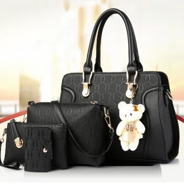 4PCS Fashion Leather Women Handbag Lady Shoulder Bags Casual Messenger Bag black one size