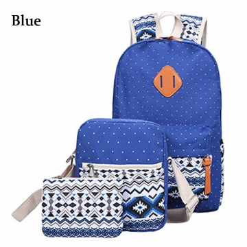 3pcs Ethnic Style Girl Geometric Dot Print Portable Handbag Tote School Backpack blue one size