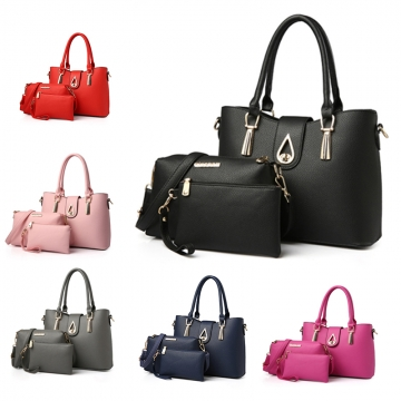 Fashion PU Leather Women Handbag Shoulder Bag Simple Lady Messenger Bag Wallet Bag black one size