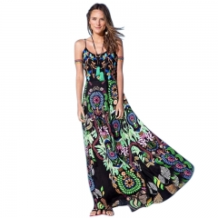 Ethnic Style Dress Woman Sleeveless Round Neck Abstract Patterns Printing Sling Dress green m