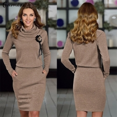 Fashion Sexy Summer Short Sleeved Loose Women Dress High Collar Pack Hip Party Dress coffee L