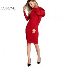COLROVIE Red OL Elegant Bodycon Dress Women Tiered Ruffle Long Sleeve O Neck Sexy Midi Dress red s