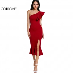 New Slit Fishtail Summer Party Dress One Shoulder Women Sexy Flounce Midi Dresses Club Dress red s