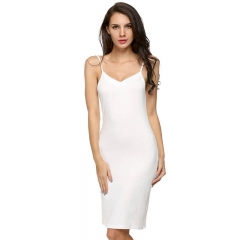 2017 Women Casual Sexy Strap Slip Sleeveless V Neck Solid Home Bottoming Straight Dress Size S-2XL white s