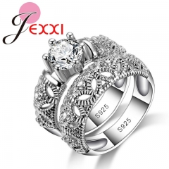 Fashion 925 Sterling Silver Rings for Women Love Ring White Gold Hollow Female Ring Sets Jewelry Silver 5