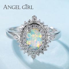 Angel Girl 925 Sterling Silver 0.78ct Opal Rings Female Oval Classic Women Ring Fine Jewelry silver 6