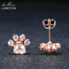 Bearfoot 5x5.5mm Natural Gemstone Rose Quartz Sterling-Silver-Jewelry Rose Gold Plated Stud Earring Pink One Size