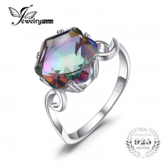 Jewelry 3.2ct Rainbow Fire Topaz Ring Solid 925 Sterling Silver Jewelry Best Gift For Women silver 6