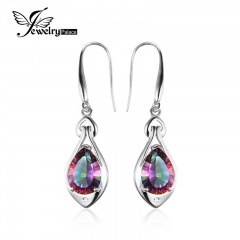 Jewelry palace 6.8ct Rainbow Fire Topaz Dangle Earrings Pure Sterling Silver Fine Jewelry For Women silver one size