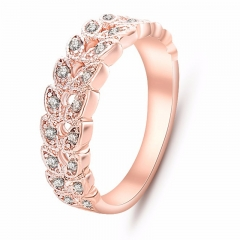 Gold Concise Classical CZ Crystal Wedding Ring Rose Gold Color Austrian Crystals Wholesale nj92 Rose Red 16