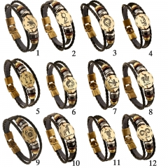 12 Constellations Bracelet Fashion Jewelry Leather Bracelet Men Casual Zodiac Signs Punk Bracelet 1 one size
