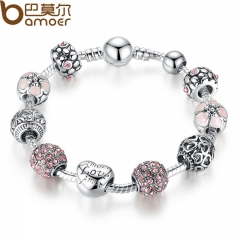 Antique Silver Charm Bracelet & Bangle with Crystal Ball Women Wedding Valentine's Day Gift silver 18