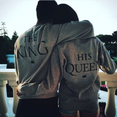 New Men & Women Tops His-and-hers Clothing King and Queen Sweatshirt ( Men-black, Women-gray ) black S