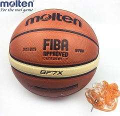Official Standard Molten GF7X Leather Indoor Outdoor Basketball Ball Training  Gift Pin Net Bag