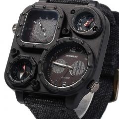 Fashion Men Outdoor Sports Watches Denim Strap Military Multifunctional Quartz Wristwatches black