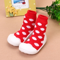 Baby toddler shoes shoes Fashion Sneakers Soft Infant Pure cotton socks Comfortable indoor shoes red us3(10.7cm)