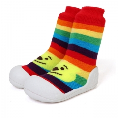 Pure cotton Socks Baby shoes Fashion Sneakers Soft Infant baby Toddler Shoes  Walkers Indoor shoes rainbow us3(10.7cm)