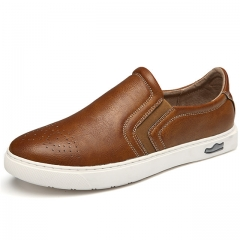 The New Men's Shoes Breathable Microfiber Leather Men'S Casual Shoes brown us7.5(27.0cm)