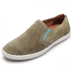 2017 Men Flats Men Peas Shoes Super Fashion Wild Flat With Single Shoes  Low To Help Driving Shoes kaki us7.5(27.0cm)