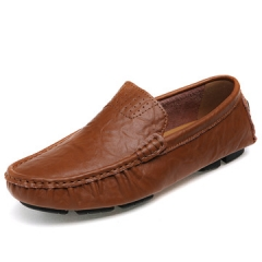 Big Size 38~48 burnished leather Men Shoes Soft Moccasins  Fashion Brand Men  Comfy Driving Shoes brown us7.5(24.5cm)