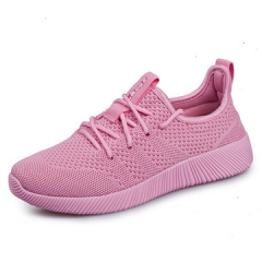 2017new lovers summer female money fly knitting vamp  Breathable comfortable wear casual sport shoes pink us5.5(22.5cm)