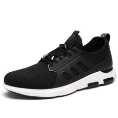 Four seasons of new men's flying webbed cloth breathable wear trainers casual sport shoes black us7.5(24.5cm)