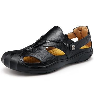 New Fashion Summer Beach Breathable Men Sandals Genuine Leather Men's Sandal Man Causal Shoes black us8(25.0cm)