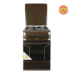 F5N31E2.B.E/VAC5F031PB - 3 Burner Gas 1 Electric Hotplate Oven Cooker - Brown