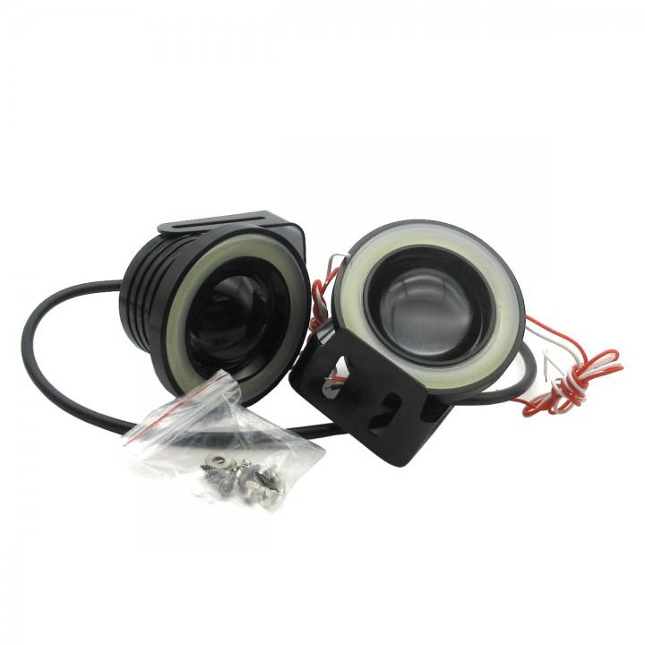 2X High Power 30W Car Projector White LED Fog Light Lamps COB Halo Angel Eye Ring Set