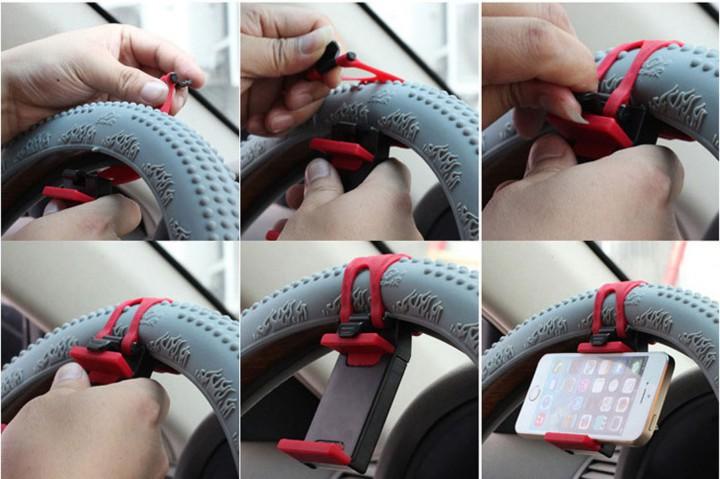 Car/Bike Mount Holder for Mobile Cell Phone GPS Retractable Car Steering Wheel Cradle Holder Clip