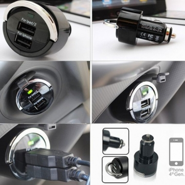 Ring-Pull Dual USB Port Car Charger Adapter 5V 3.1A For TENCO/HUAWEI/ITEL/INFINX/GIONEE/NOKIA