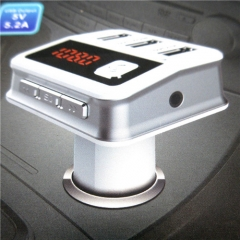 5V/3.1A Three USB Port Bluetooth Car Kit Handsfree Talking FM Transmitter MP3 Player LED Display