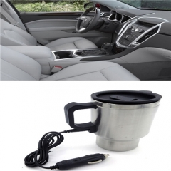 Mini Thermal Mug Hot Drink Travel Cup Portable 12V Stainless Steel Silver Heating Car Drink Mug