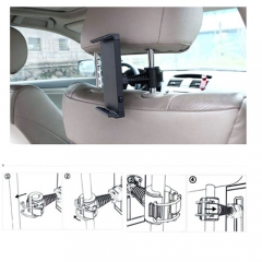 Black 360 Degree Auto Car Vehicle Back Seat Headrest Mount Holder for Tablet Universal