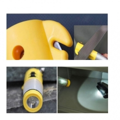 Car Safety Magnet Emmergency Hammer 4-in-1 Multi-function Flashlight Knife Cutter Led Warning Light