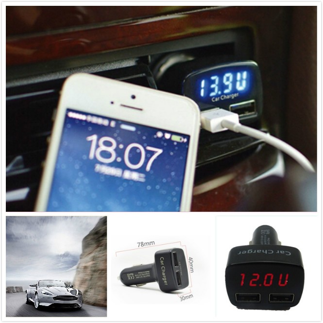 4 in 1 Car Charger Dual DC 5V 3.1A USB Voltage Current Meter Tester Adapter Digital LED Display