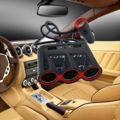 3.1A 120W Output Power 3 USB Auto Sockets Car Charger Adapter Cigarette Lighter Splitter Adapter