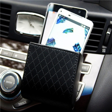 Car Air Vent Leather Phone Storage Box Bag Auto Car Vent Outlet Trash Box