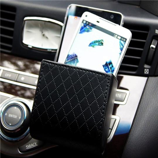 Car Air Vent Leather Phone Storage Box Bag Auto Car Vent Outlet Trash Box