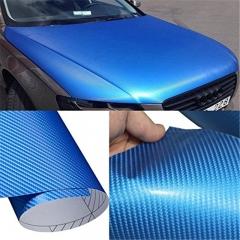 Blue 3D Carbon Fiber Vinyl Car DIY Wrap Sheet Roll Film Sticker Decal Blue as picture
