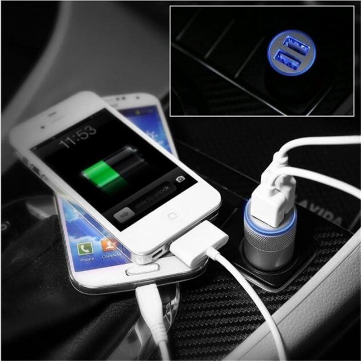 Universal 2-Port Smart USB Quick Car Charger for All Phone