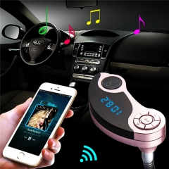 Silver Wireless Car Bluetooth MP3 FM Transmitter Radio Adapter USB Car Charger Supports TF/SD Card