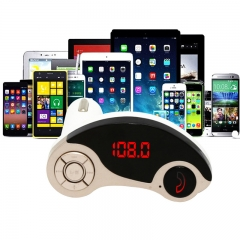 Silver Wireless Bluetooth MP3 FM Transmitter Radio Adapter USB Car Charger Supports TF/SD Card