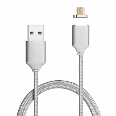 Micro USB Magnetic Charger Cable for Samsung S7 Edge Metal Adapter Android Silver