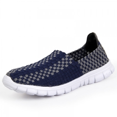 mens slip on sprot shoes knit upper sneakers blue 39